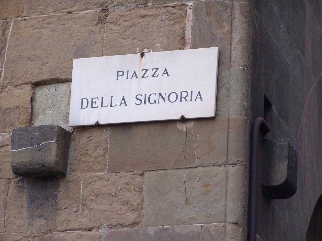 Piazza della Signoria sign