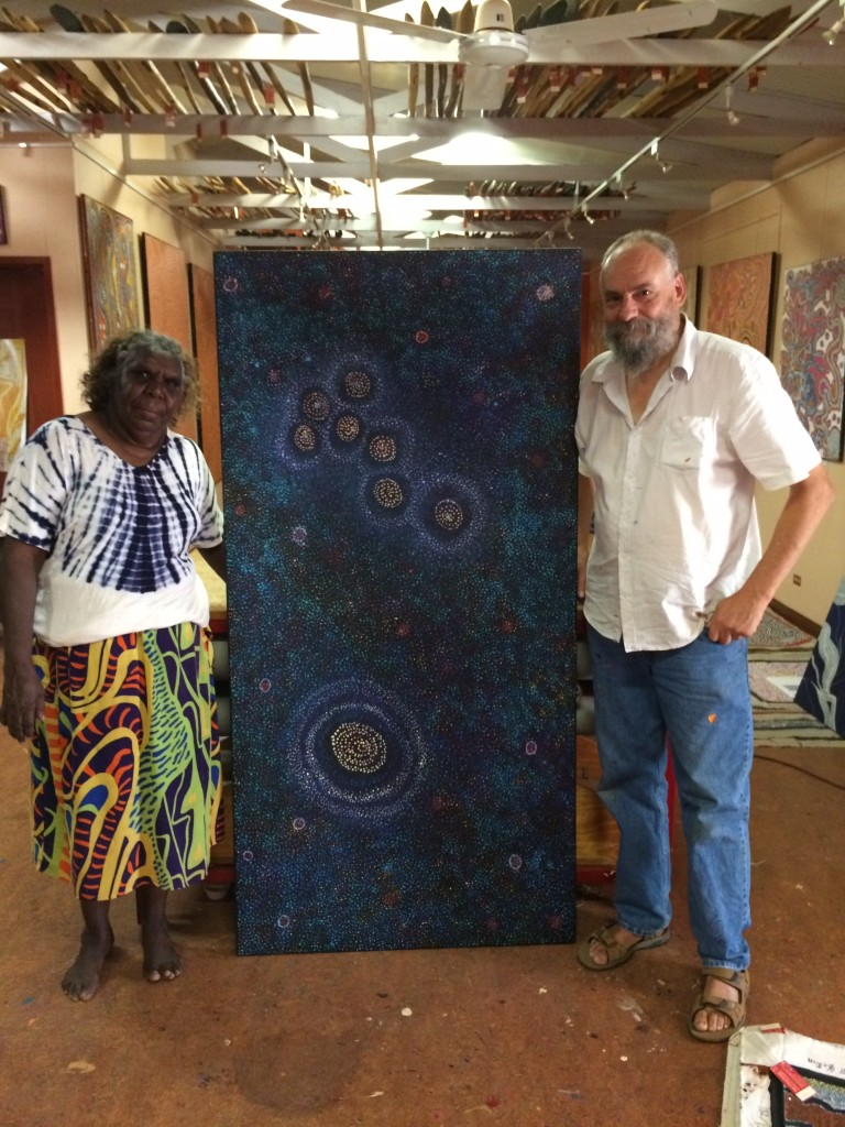 Alma Nungarrayi Granites & Lee Braden with Alma's 'Seven Sisters Dreaming'