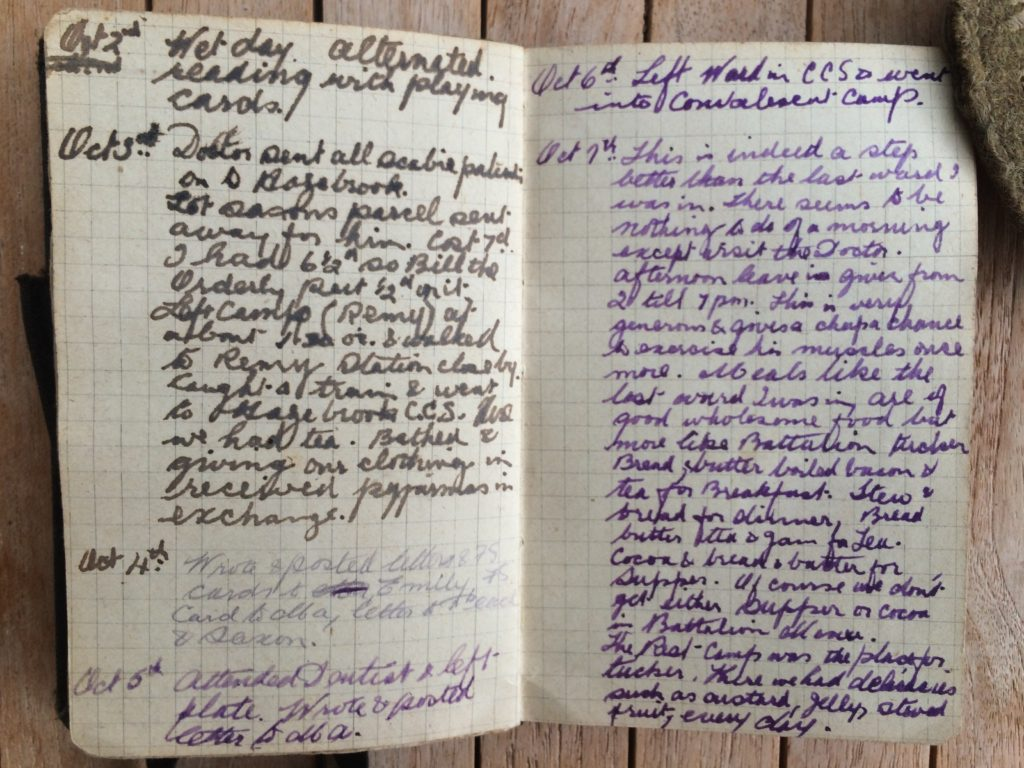 1916 War Diary - sample Oct 2nd